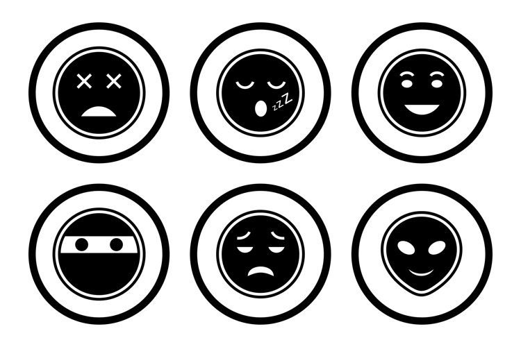 Set Of Emojis and Emoticons Icons example image 1