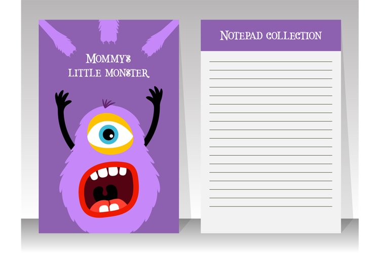 Notebook template with cartoon fluffy monster example image 1