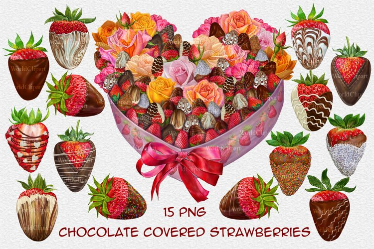 Chocolate Covered Strawberry Clipart, Wedding Clipart
