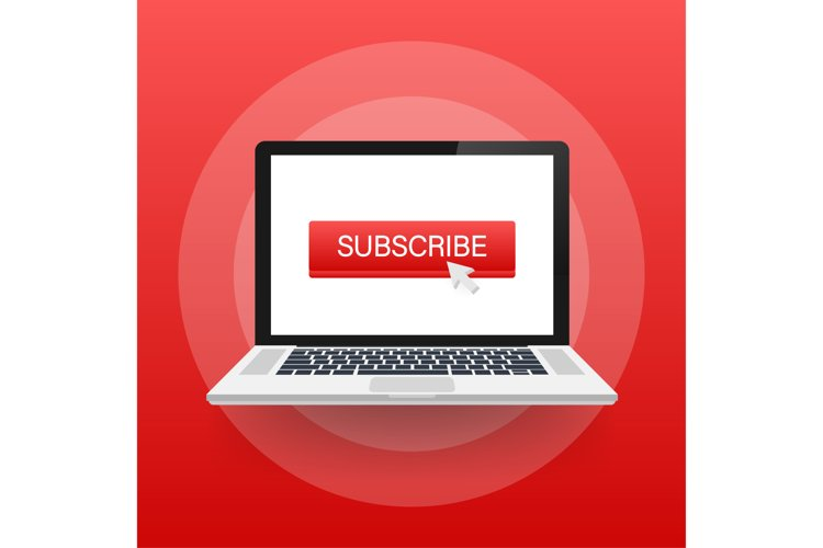 Subscribe button icon. Vector stock illustration. Business c example image 1