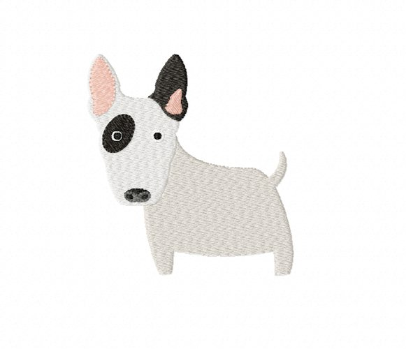 Bull Terrier Embroidery Design in 2 sizes example image 1