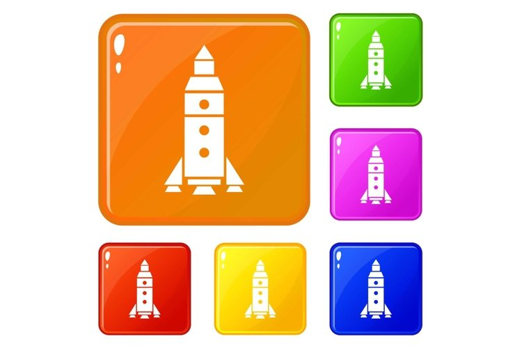 Rocket exploration icons set vector color example image 1