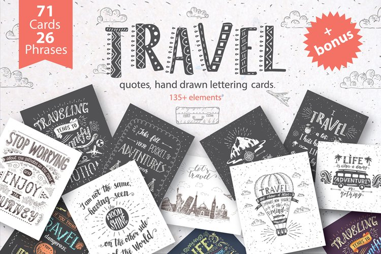 Travel hand drawn postcards/banners.