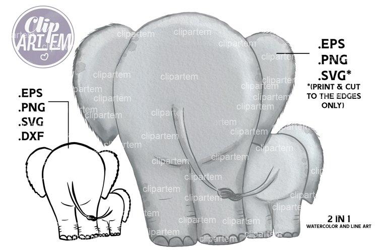 Walking Elephants Daddy Baby vector, svg, watercolor