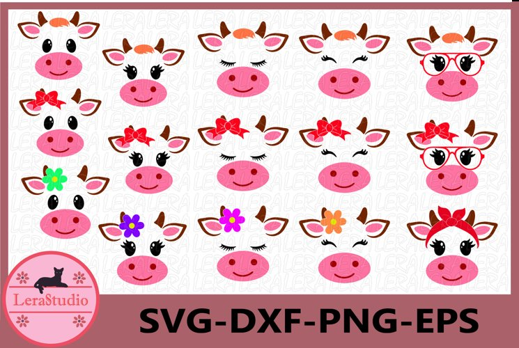 Cow SVG, Farm svg, Cow head svg, Calf with Bandana svg, Calf example image 1