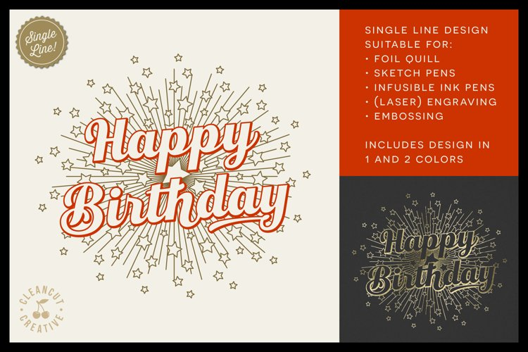 Foil Quill HAPPY BIRTHDAY single line sketch design SVG example image 1