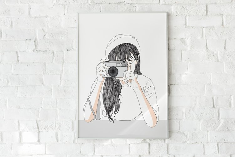 Art Print - Girl secretly taking pictures example image 1