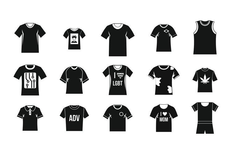 Tshirt icon set, simple style example image 1