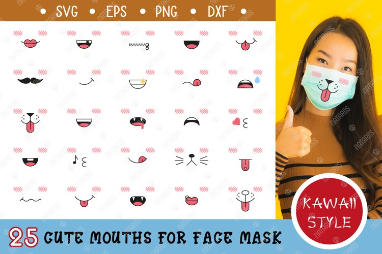 25 Cute mouths for Medical Face Mask. SVG Kawaii Style. example image 1