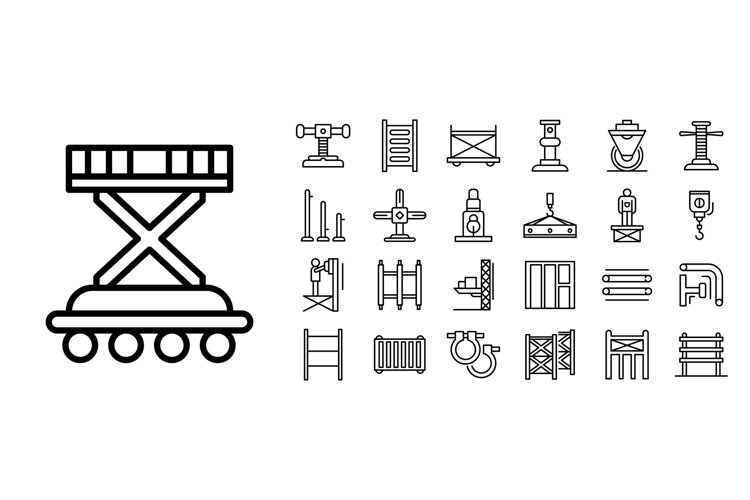 Scaffolding icon set, outline style example image 1