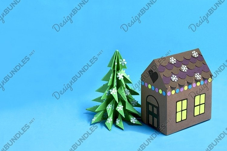 Paper gingerbread house and Christmas tree example image 1