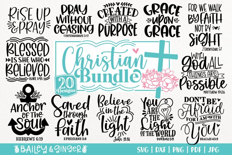 Christian Saying SVG Bundle - Bible Verses, Religious SVGs