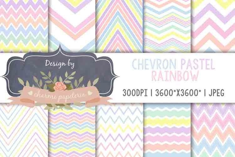 Rainbow chevron Digital Paper, Rainbow pastel paper example image 1