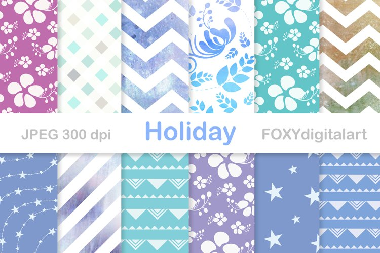 Chevron digital paper floral watercolor background example image 1