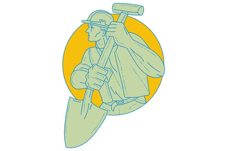 Construction Worker Shovel Circle Drawing example image 1