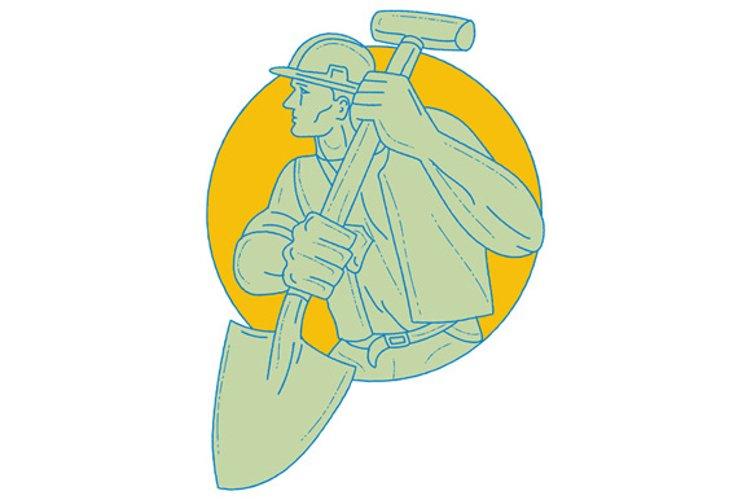 Construction Worker Shovel Circle Drawing example image 1