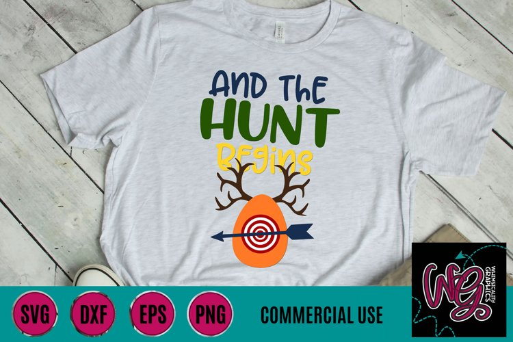 And the Hunt Begins Easter SVG DXF PNG EPS Commercial example image 1