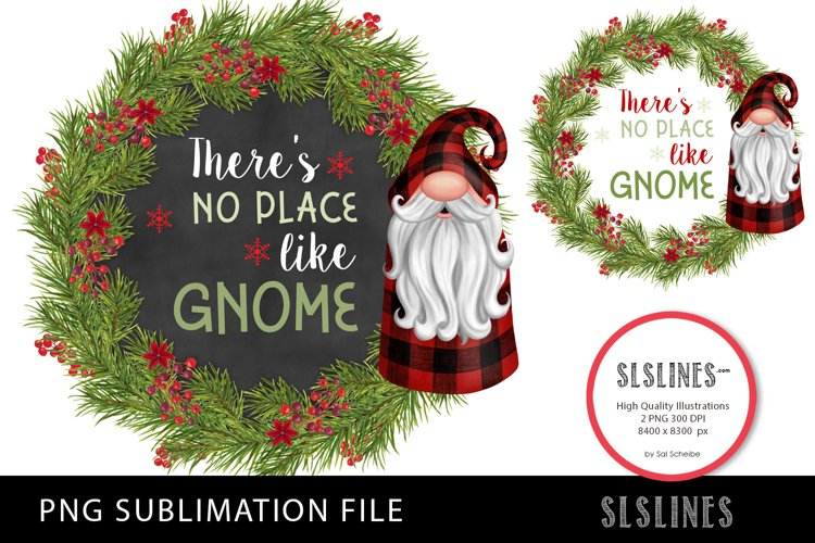 Christmas Gnomes Wreath Red Plaid PNG sublimation example image 1