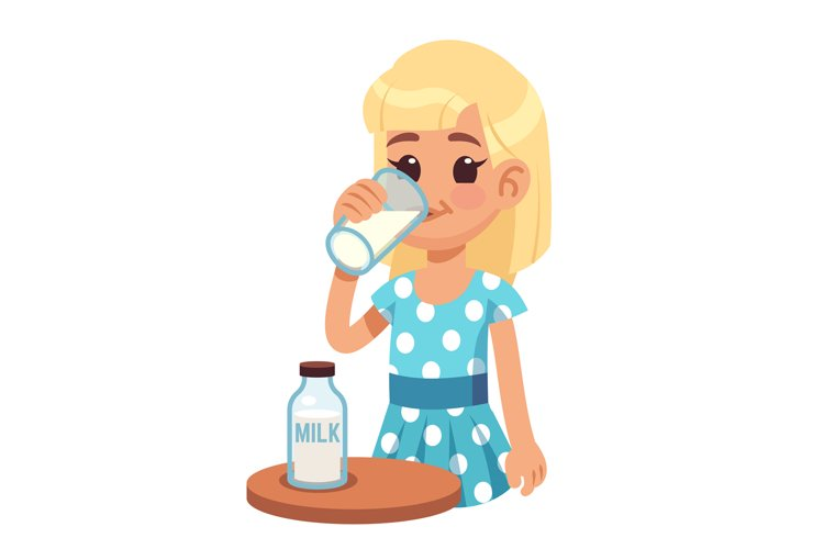 Girl drinks milk. Cartoon happy kid drinking cow milk in gla example image 1