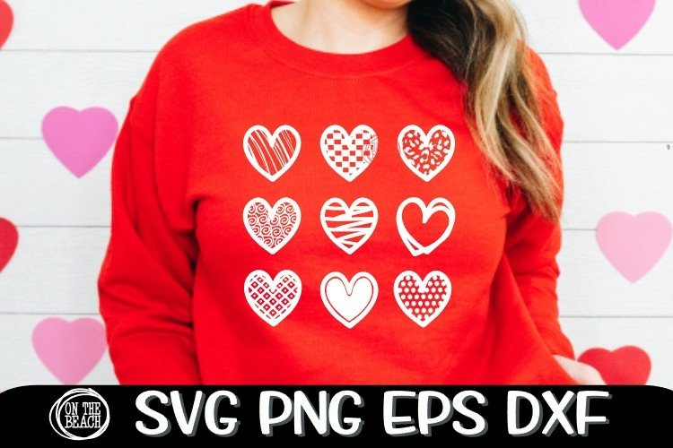 Hearts - Valentine SVG PNG EPS DXF - Cutting - Sublimation example image 1