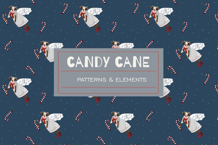 Christmas candy cane and cow patterns