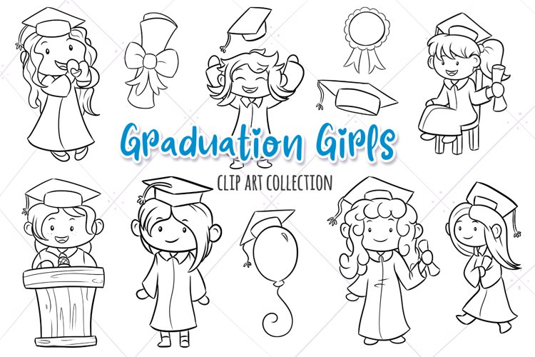 Graduation Girls Digital Stamps example image 1