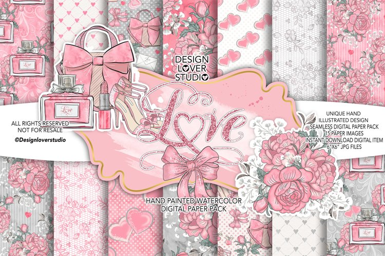 Loving Heart digital paper pack example image 1