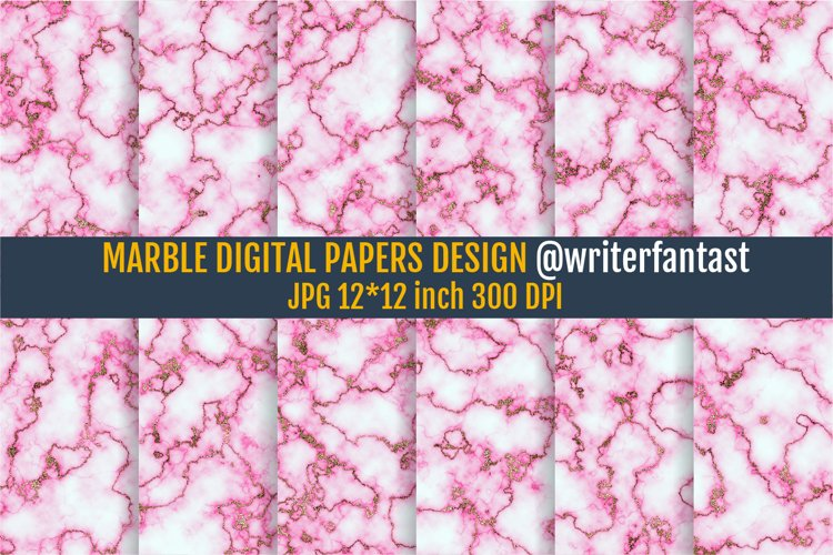 Digital Papers Marble With Gold example image 1