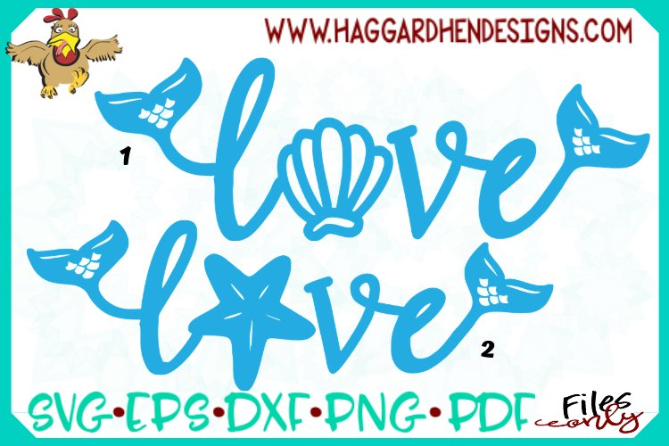 Love Word--Mermaid Theme SVG example image 1
