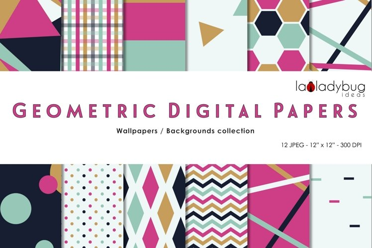 Multicolor triangles digital papers. Geometric wallpapers. example image 1