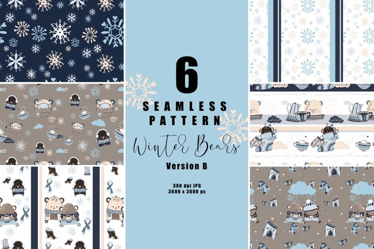 6 seamless pattern Winter Bears version B, repeat pattern
