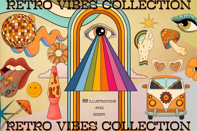 Retro vibes clipart, 70s Clipart, Good vibes only clipart