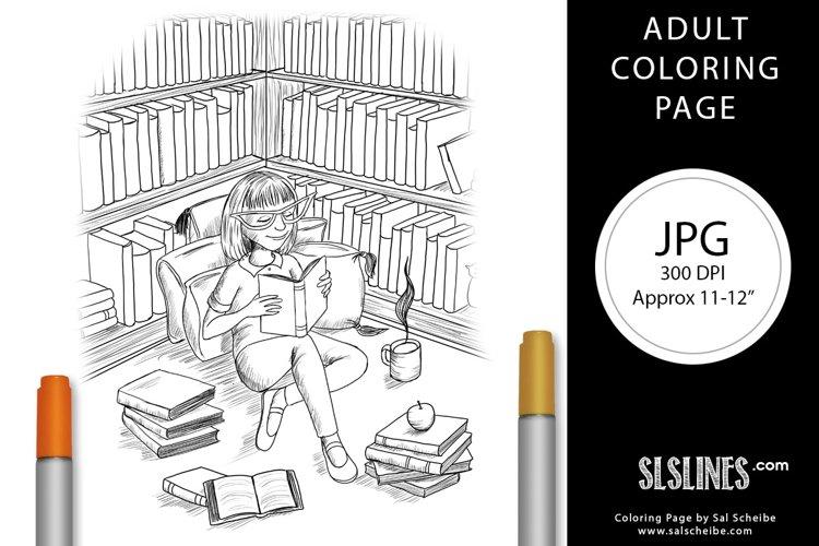 Young Girl Reading at Libary Coloring Page