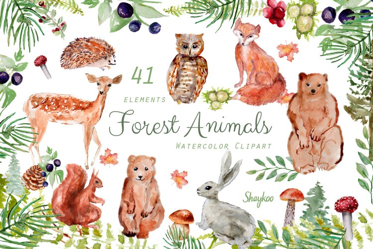 Forest Animals Clipart, Woodland Creatures, Fox, Bear, Owl example image 1