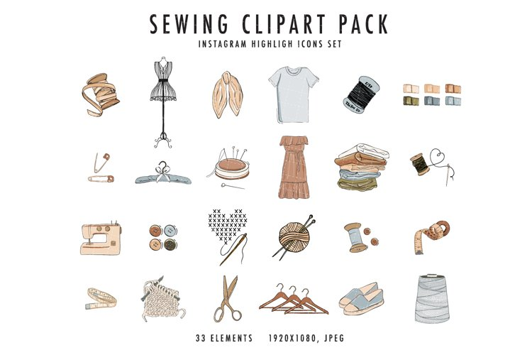 Sewing clipart craft Icons set DIY handmade Instagram pack