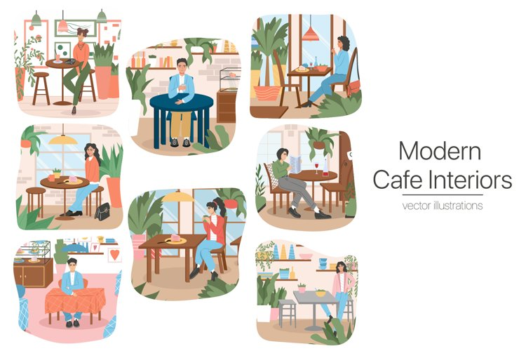 Modern Café Interiors vector illustration example image 1