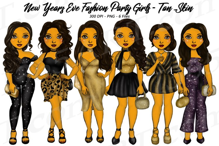 New Years Eve Party Brown Skin Tan Girls Fashion Clipart PNG