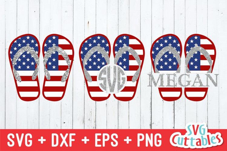 Fourth of July SVG | Flag Flip Flops example image 1