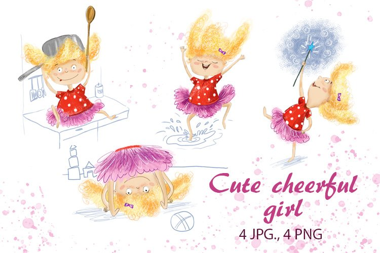 Set of illustrations of cute funny girl example image 1