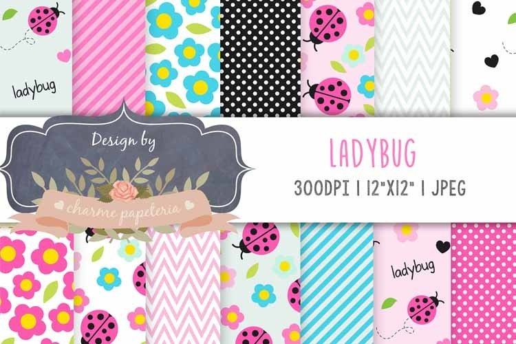 Pink Ladybug Digital Paper, Spring, Flowers Instant Download example image 1