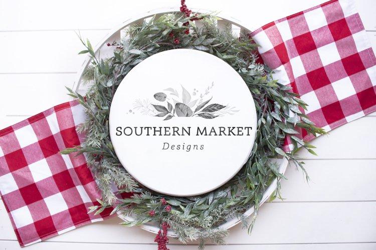 Christmas White Wood Round Sign Mock Up Styled Photography example image 1