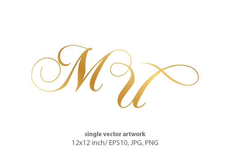 Calligraphic golden monogram letters M and U example image 1