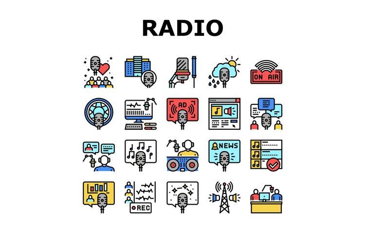 Radio Studio Podcast Collection Icons Set Vector example image 1