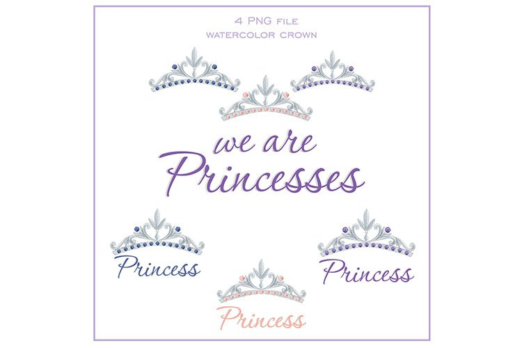 Watercolor crown of princess bundle
