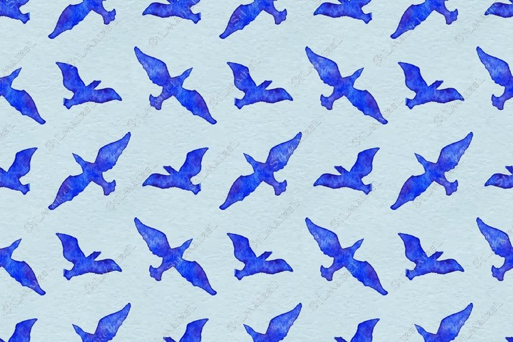 Watercolor flying bird animal blue seamless pattern vector example image 1