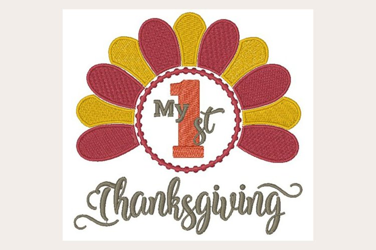 My 1St Thanksgiving - Machine Embroidery Design example image 1