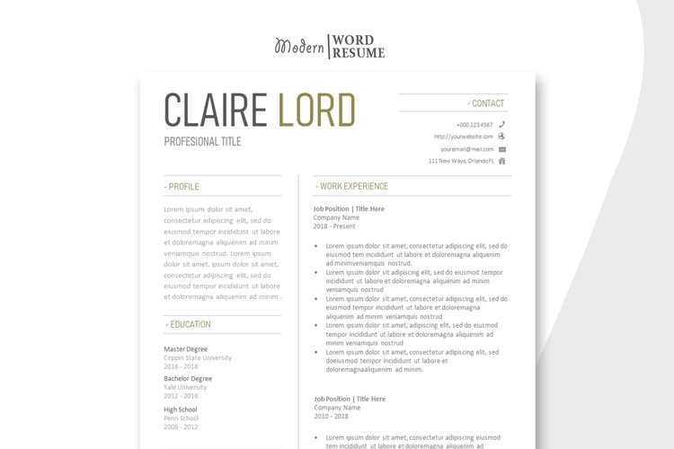 Two Page CV Template | Cover Letter | Reference Page example image 1