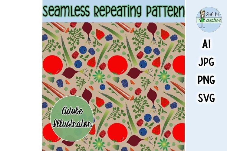 Fruit & Veggies digital elements and repeating pattern