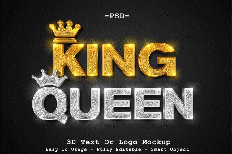 3d sparkle gold king and silver queen text or logo mockup