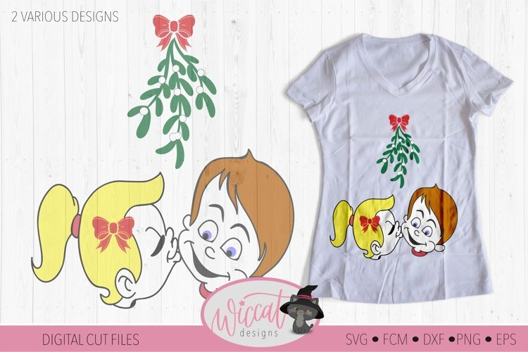 Mistletoe kisses, Girl and Boy mistletoe svg, Couple shirt